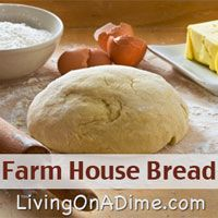 Hubby says is the best homemade bread he's ever had. You make it in the bread machine, but I don't have a bread machine and just kneaded it by hand. We toasted it in the toaster for breakfast and it was delicious! If you want an extra tasty homemade bread you have to try this one! Click here to get this easy bread machine #recipe http://www.livingonadime.com/farm-house-bread/ .