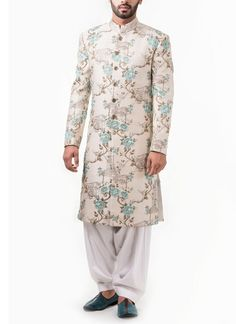 Abhipri | Abhipri White Base With Blue Floral Self Design Sherwani | Shop Sherwanis at strandofsilk.com