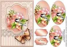 Pretty Birdie with Lace and Butterflies