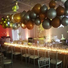 Our balloon chandelier from our open house balloons bubbly balloon chandelier for head table mozeypictures Choice Image