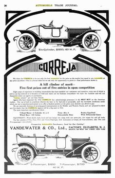The Correja was an American automobile produced from 1908 to 1915. Built by Vandewater & Co. of Iselin, New Jersey, the car was a shaft-driven 40 hp four of 5808 cc.