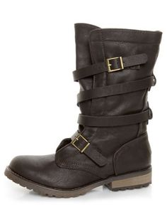 bdd9e647712 GoMax Apple Ranch 01 Brown Slouchy Belted Combat Boots -  85.00 Combat Boots
