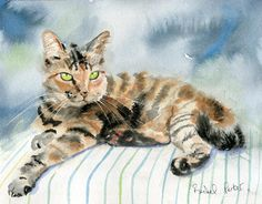 T i t l e : Tabby: Stripes on Stripes  A r t i s t : Rachel Parker  M e d i u m : Watercolor  D i m e n s i o n s: 10x8  S p e c i f i c a t i o n s: Created with museum quality paint and paper   **********Before you buy, please read info below**********  I dont know what it is about painting cats, but I cant get enough! Im sure its those incredible eyes, which reflect their quirky personalities, intelligence, and warm heartedness. My best friend was once a Siamese cat. He would lie on my…