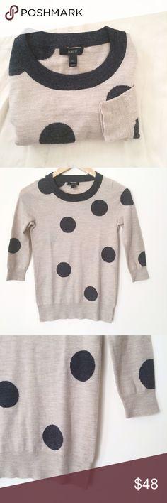 "J. Crew 100% merino wool polka dot sweater J. Crew 100% merino wool polka dot sweater. Like new condition. Size XXS. But can fit XS or S as well. Flat measurements: underarms:16.5"", length: 24"". J. Crew Sweaters Crew & Scoop Necks"