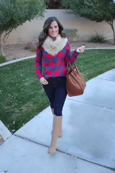 Perfect Thanksgiving outfit! Buffalo Plaid Flannel Shirt (J. Crew), Skinny Jeans, Tall Suede Boots, Luggage Tote, Fur Tucker (J. Crew).