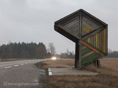 These are not your standard photo subject and Soviet-era bus stops can be bloody hard to find. They may be visible from the road, but these bus stops sit on some very remote roads! Bus Stop Design, Bus Shelters, Shelter Design, Der Bus, Grand Format, Bus Station, Out Of This World, Public Art, Dares