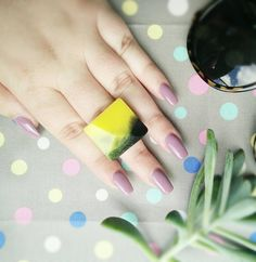 Yellow and Black Resin Ring https://www.etsy.com/uk/listing/229403330/chunky-resin-ring-yellow-and-black-resin #jewelry #resin #yellow