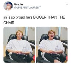 Such big shoulders 👀 Whoever marries him will have the ult (along with y'all other BTS members lol) Bangtan Bomb, Bts Bangtan Boy, Seokjin, Bts Memes Hilarious, Bts Tweet, Kpop, About Bts, Worldwide Handsome, I Love Bts