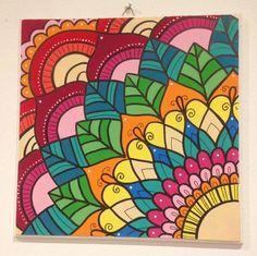 Cuadros Mandalas De Madera, Pintados A Mano. Super Coloridos - $ 260,00 en Mercado Libre Mandala Art Lesson, Mandala Drawing, Mandala Painting, Doodle Zen, Art Doodle, Mandala Design, Mandala Canvas, Small Canvas Art, Art Drawings For Kids
