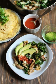 Jalapeño Chicken Skillet with kale, avocado, and corn tortillas | Frugal Nutrition