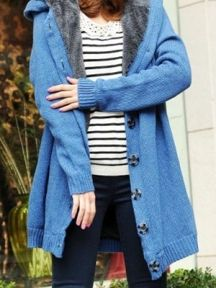 Hooded Solid Color Long Knit Sweater Coat