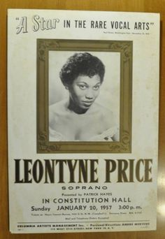 Poster for Leontyne Price concert, Constitution Hall, January 1957