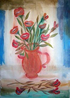 flores bocas , acrylic on canvas, 70x 100cm. 2002 Price of original painting: inquire