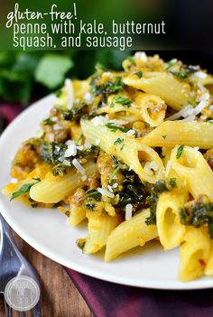 Gluten-Free Penne with Kale, Butternut Squash and Sausage #glutenfree | iowagirleats.com