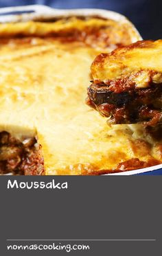 Moussaka | While moussaka is largely attributed to Greece, variations can also be found in Turkey, where it includes green capsicum, and Serbia, Bulgaria and Macedonia, where it is made with potatoes, pork and a yoghurt topping. Our moussaka recipe is a modern take on the Greek version, with slow-cooked shredded lamb instead of minced, and eggplant and béchamel sauce enriched with kefalograviera (hard, sheep's milk cheese).