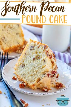 Homemade Southern Pecan Pound Cake is the most moist and tastiest pound cake ever! It has so much flavor and comes out perfect every time! #poundcake #dessert Southern Desserts, Just Desserts, Delicious Desserts, Dessert Recipes, Pecan Recipes, Southern Recipes, Holiday Desserts, Bunt Cakes, Cupcake Cakes