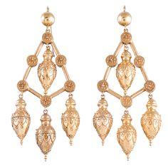 Dramatic Etruscan Chandelier Earrings   From a unique collection of vintage chandelier earrings at http://www.1stdibs.com/jewelry/earrings/chandelier-earrings/