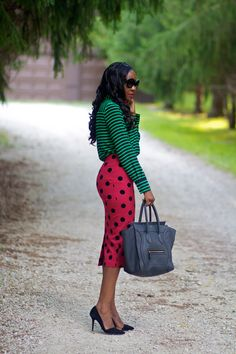 Mixing both prints & colors. Polka dots with stripes. Green with pink.