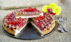 Walnut tart with cream and redcurrants