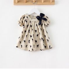 Girls Casual Dress Cartoon Deer Print Brand Kids Toddler Cotton Baby Dress Children Summer 2014 Puff Short Sleeve Clothing-inDresses from Apparel &
