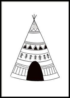 Grafische poster met zwart-witte indianentent die in alle kinderkamers past. Match deze met de poster indian arrows en rabbit chief under dezelfde categorie. www.desenio.nl