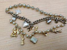 Two Vintage 1940's Era Charm Bracelets New by suburbantreasure #GotVintage #Vintage #Jewelry