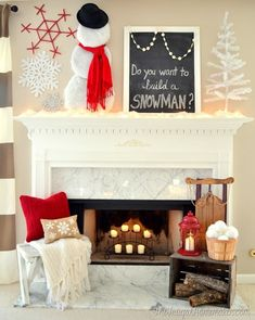 Do You Want to Build a Snowman Winter Mantel #frozen #winter #mantel