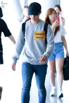 I just want to take this away from him and burn it. His airport fashion is just not good.