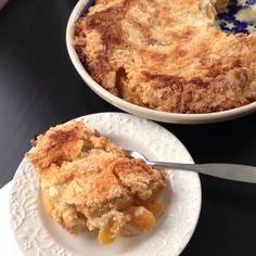 Winter Peach Cobbler Recipe Desserts with frozen peach slices, flour, sugar, salt, cinnamon, eggs, unsalted butter