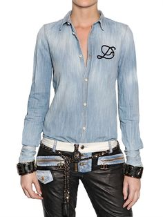 DSQUARED - EMBROIDERED LOGO COTTON DENIM SHIRT - LUISAVIAROMA - LUXURY SHOPPING WORLDWIDE SHIPPING - FLORENCE