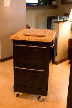 file cabinet to cutting block -Repurposed Furniture