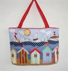 Appliquéd Beach Hut Beach Bag - Folksy (photo only)Appliquéd Beach Hut Beach Bag - Makes me think of the cottages in Provincetown Unique Features Of Shoulder Hobo Hand Bags Applique Quilts, Embroidery Applique, Machine Embroidery, Patchwork Bags, Quilted Bag, Quilting Projects, Sewing Projects, Beach Quilt, Free Motion Embroidery