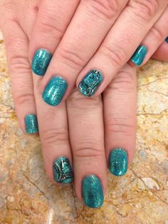 Swirly Turquoise Soft Gel Nails
