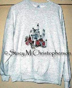My finished Neuschwanstein Castle.  The stitching outlasted the sweatshirt!  Pattern by Jeanette Crews Designs.