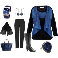 """""""Plus Size - black and blue Business Casual"""" by intcon on Polyvore"""