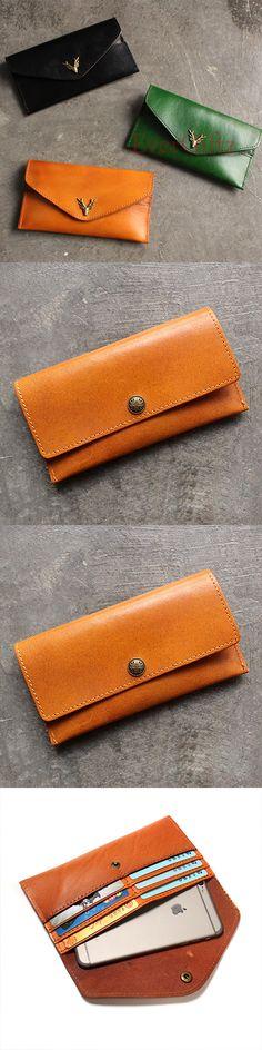 Handmade leather vintage women long wallet clutch phone purse wallet