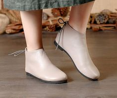 Handmade Gray ShoesAnkle BootsOxford Women Fall Shoes Flat