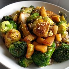 What's for #lunch? #stirfry made with #brusselsprouts #brocoli and #daikon all served with a mix of #lentils and #millet  #veganlunch #vegan #vegetarian #vegetarianlunch #plantbased #plantpower #veganlunchbox  All the #vegetables are #organic and coming from #vegetablebox @towergreenhamlets