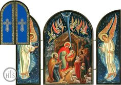 Nativity of Christ Triptych, Orthodox Icon - at Holy Trinity Store Religious Images, Religious Art, Russian Icons, O Holy Night, Byzantine Art, Orthodox Icons, Sacred Art, Native Art, Holy Family