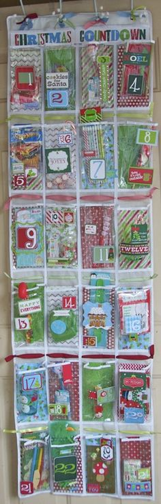 Nifty little idea for an alternative Christmas countdown calendar! Use a shoe door-hung organizer and fill with little treats from the dollar store! Too cute not to share. // Christmas crafts