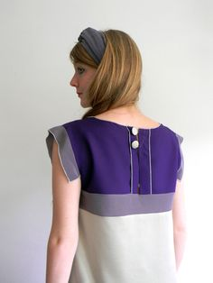 Light gray, Indigo and Violet gray patchwork silk dress.  This dress have a opening on his back, closed by 2 covered bottons.  Handcrafted from 100...