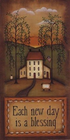 EACH NEW DAY By Kim Lewis. Shop for affordable, exceptional custom framed art prints. Primitive Painting, Primitive Folk Art, Primitive Crafts, Tole Painting, Primitive Country, Primitive Bedroom, Primitive Homes, Primitive Snowmen, Primitive Christmas