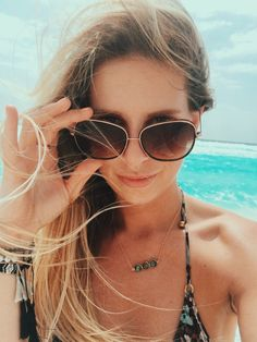 feeling myself Friday  the beautiful @iamkellyhughes in the Stella necklace in Tulum! #charmesilkiner #babe #selfie #vacation