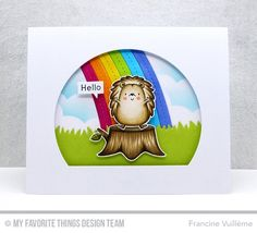 Happy Hedgehogs Stamp Set, End of the Rainbow Die-namics, Grassy Hills Die-namics, stitched Arch STAX Die-namics, Stitched Cloud Edges Die-namics - Francine Vuillème  #mftstamps