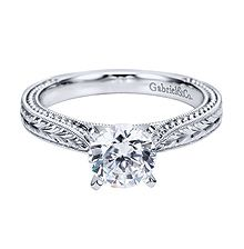 Classy Gabriel & Co. White Gold Victorian Solitaire Engagement Ring- customization available at Westshore Diamond!