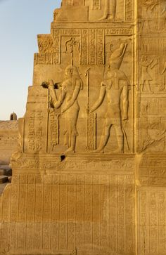 Relief on Temple Kom Ombo - Seshat, Goddess of Astronomy, and Horus, Aswan