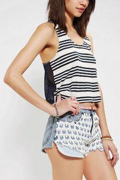 ShopStyle: BDG Mesh-Back Stripe Tank Top