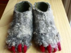 The Felted Gnome Knows by susio wet felted monster slippers custom order Monster Slippers, Felt Boots, Sew Over It, Needle Felting Tutorials, Felted Slippers, Yarn Bombing, Nuno Felting, Fabric Art, Wool Felt