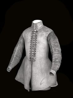 A buff leather coat with sleeves embroidered with silver lace,  1621 - 1630.