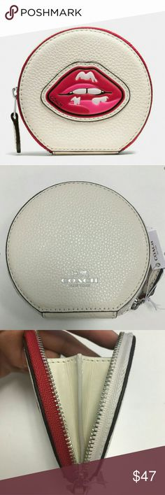 """Coach Pebbled Leather Lips Coin Case NWT Coach Pebbled Leather Multi-Colored Lips Zip Around Closure Coin Case NWT, Fabric Lining, Silver Hardware, Apx 4"""" (L) x 3-3/4""""(H) x 3/4"""" (W), Still In Protective Packaging Hasn't Been Opened Coach Accessories"""